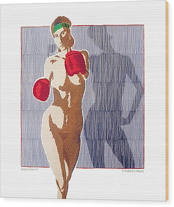 Shadow Boxer - 1 Wood Print by Robert G Mears