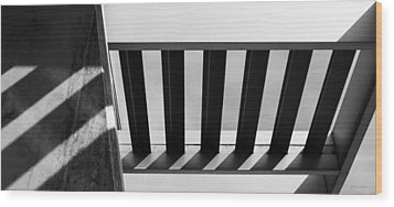 Wood Print featuring the photograph Shadow Lines - Architectural Abstracts by Steven Milner