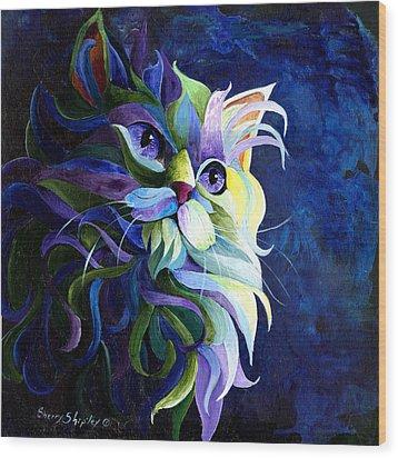 Shadow Puss Wood Print by Sherry Shipley