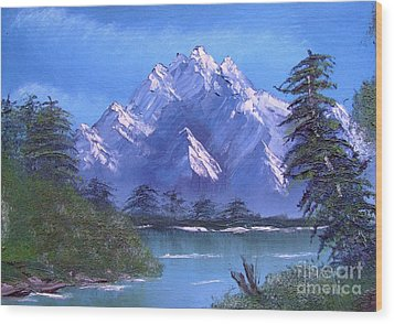 Shadowed Mountain Lake Wood Print by Marianne NANA Betts