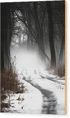Shadows And Mist At Mentha Wood Print