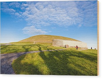 Shadows Fall On Newgrange In Ireland Wood Print by Mark E Tisdale
