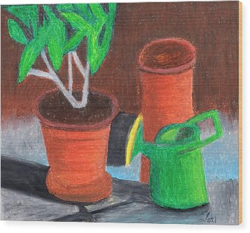 Shady Garden Corner Wood Print by Bav Patel