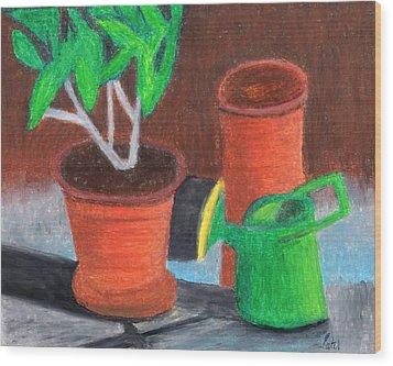 Shady Garden Corner Wood Print by Bav Patel