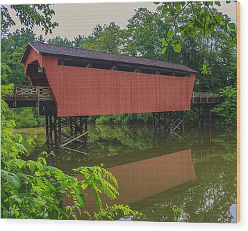 Shaeffer Or Campbell Covered Bridge Wood Print by Jack R Perry