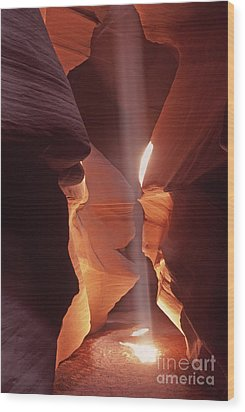 Wood Print featuring the photograph Shaft Of Light Antelope Canyon by Liz Leyden