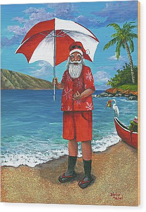 Wood Print featuring the painting Shaka Santa by Darice Machel McGuire