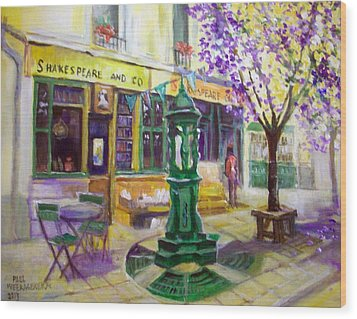 Shakespeare And Co Bookshop Wood Print