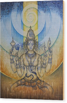 Shakti - Tripura Sundari Wood Print by Vrindavan Das
