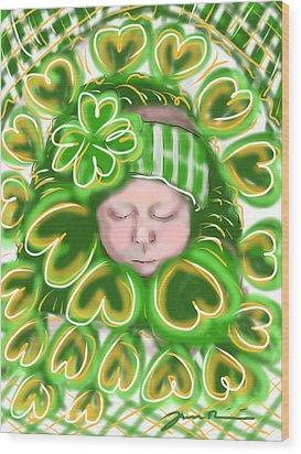 Shamrock Baby Wood Print by Jean Pacheco Ravinski
