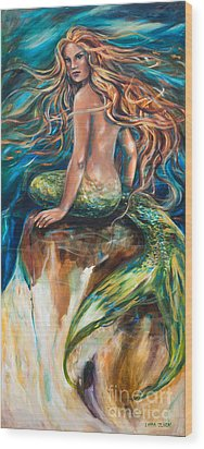 Wood Print featuring the painting Shana The Mermaid by Linda Olsen