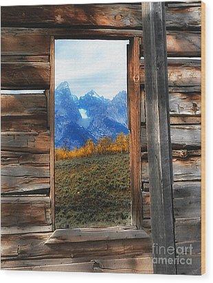 Shane Cabin Window  Wood Print