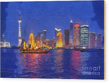 Shanghai During Dusk Time Wood Print