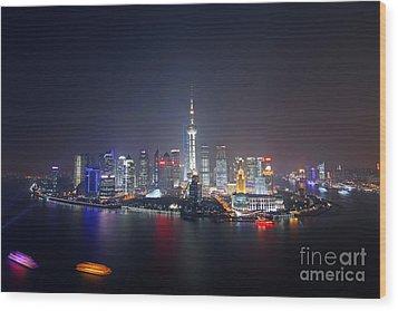 Shanghai Wood Print by Lars Ruecker
