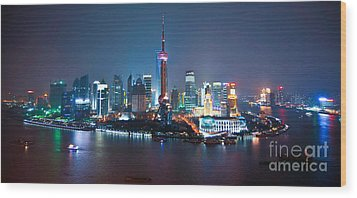 Shanghai Panorama Wood Print by Delphimages Photo Creations
