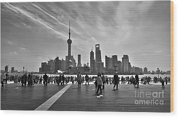 Shanghai Skyline Black And White Wood Print by Delphimages Photo Creations