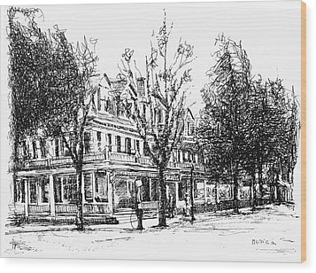 Shanley Hotel Wood Print by Monica Cohen