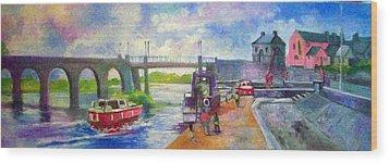 Shannon Bridge Co Offaly Wood Print by Paul Weerasekera