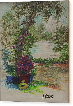Wood Print featuring the drawing Shannon's  Garden by Beth Arroyo
