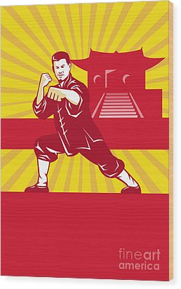 Shaolin Kung Fu Martial Arts Master Retro Wood Print by Aloysius Patrimonio