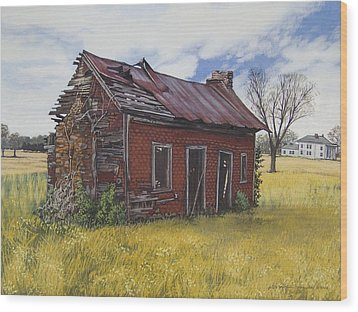 Sharecroppers Shack Wood Print by Peter Muzyka
