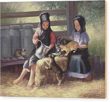 Sharing With A Friend Wood Print by Laurie Hein