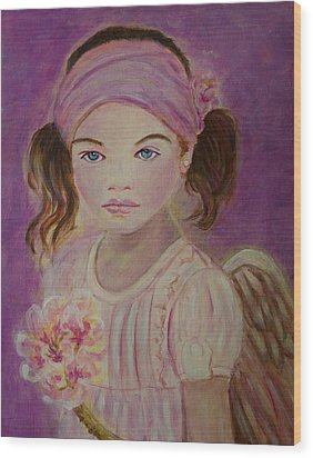 Sharissa Little Angel Of New Beginnings Wood Print by The Art With A Heart By Charlotte Phillips