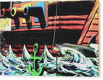 Shark And Pirate Ship Pop Art Posterized Photo Wood Print