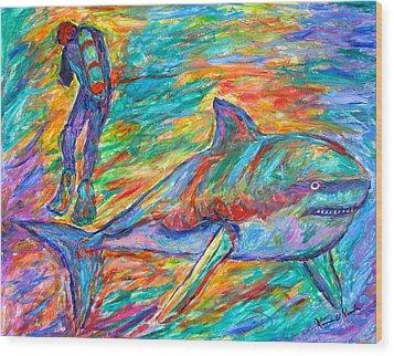 Shark Beauty Wood Print by Kendall Kessler