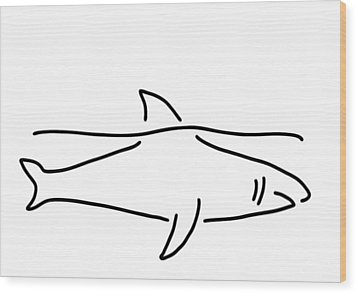 Shark Shark Fish Fin Sea Wood Print by Lineamentum