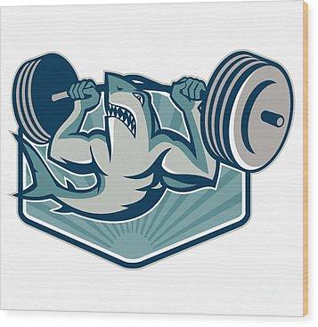 Shark Weightlifter Lifting Weights Mascot Wood Print by Aloysius Patrimonio