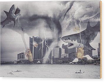 Wood Print featuring the photograph Sharknado Detroit by Nicholas  Grunas