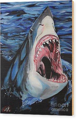 Sharks Get Smart Wood Print by Lambert Aaron