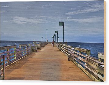 Sharky's Fishing Pier Wood Print