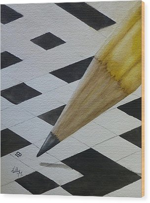 Wood Print featuring the painting Sharpen Your Pencil For This Puzzle by Kelly Mills