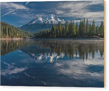 Shasta And Lake Siskiyou Wood Print