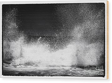 Shattering Waves Wood Print by John Rizzuto