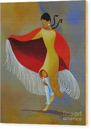 Shawl Dancer Wood Print by Ainsley McNeely