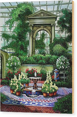 Wood Print featuring the painting Shaw's Gardens Mediteranian House by Michael Frank