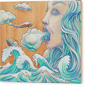 She Blows Wood Print by Reid Jenkins