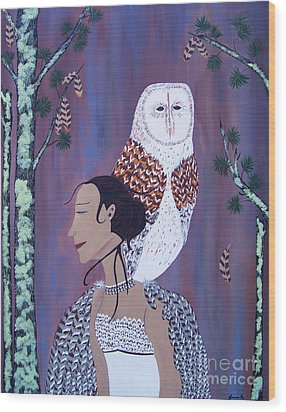 She Flies With The Owls Wood Print
