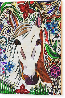 She Grazes Where Flowers Grow - Horse Wood Print