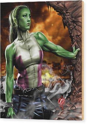 She-hulk Wood Print by Pete Tapang