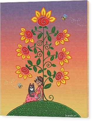 She Is Life Barnes And Noble Wood Print by Victoria De Almeida
