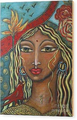 She Listens Wood Print by Maya Telford
