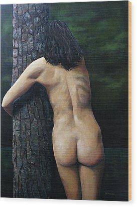She Loves Trees Wood Print by Jo King