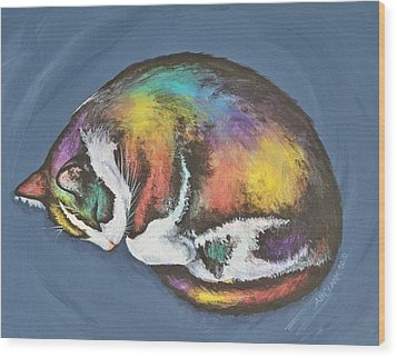 She Purrs In Color Wood Print by Beth Clark-McDonal