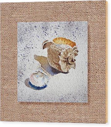 She Sells Sea Shells Decorative Collage Wood Print by Irina Sztukowski