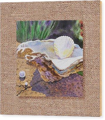 She Sells Sea Shells Decorative Design Wood Print by Irina Sztukowski