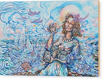 She Sells Seashells By The Seashore Wood Print by Susan Schiffer